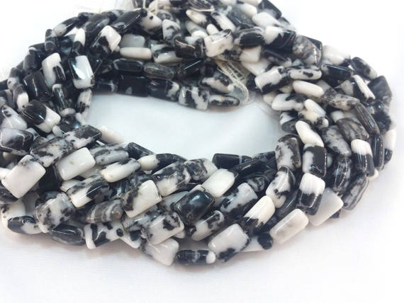 """Mexican Zebra Jasper 12x8mm smooth puff rectangle beads approx. 15.5"""" strand or 7"""" strand"""