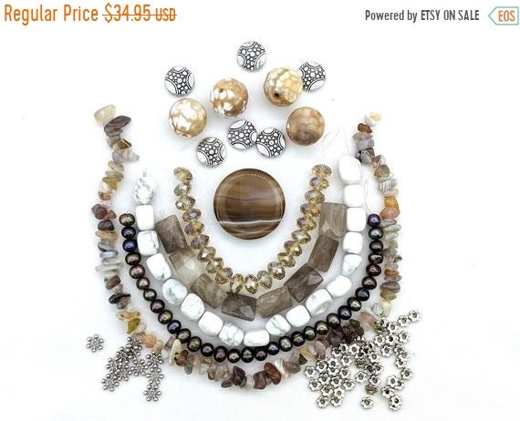 ON SALE Brown banded Agate focal DIY necklace jewelry kit - over 33 inches of beads - howlite, botswana agate, smoky, freshwater pearls bead
