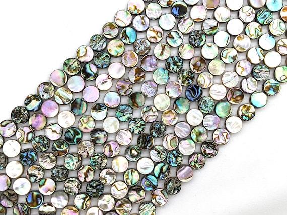 "Paua Abalone shell 10mm coin beads 7"" or 15.5"" strand - itty bitty bead bus - blue abalone paua natural shell bead"