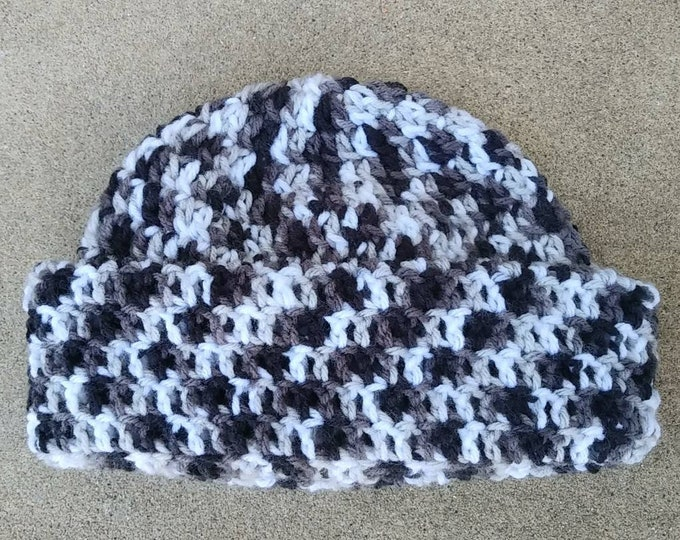 77fc7a4f6c7 Reserved Crochet Beanie Hat- Crochet Skull Cap- Unisex Winter Hat- Black