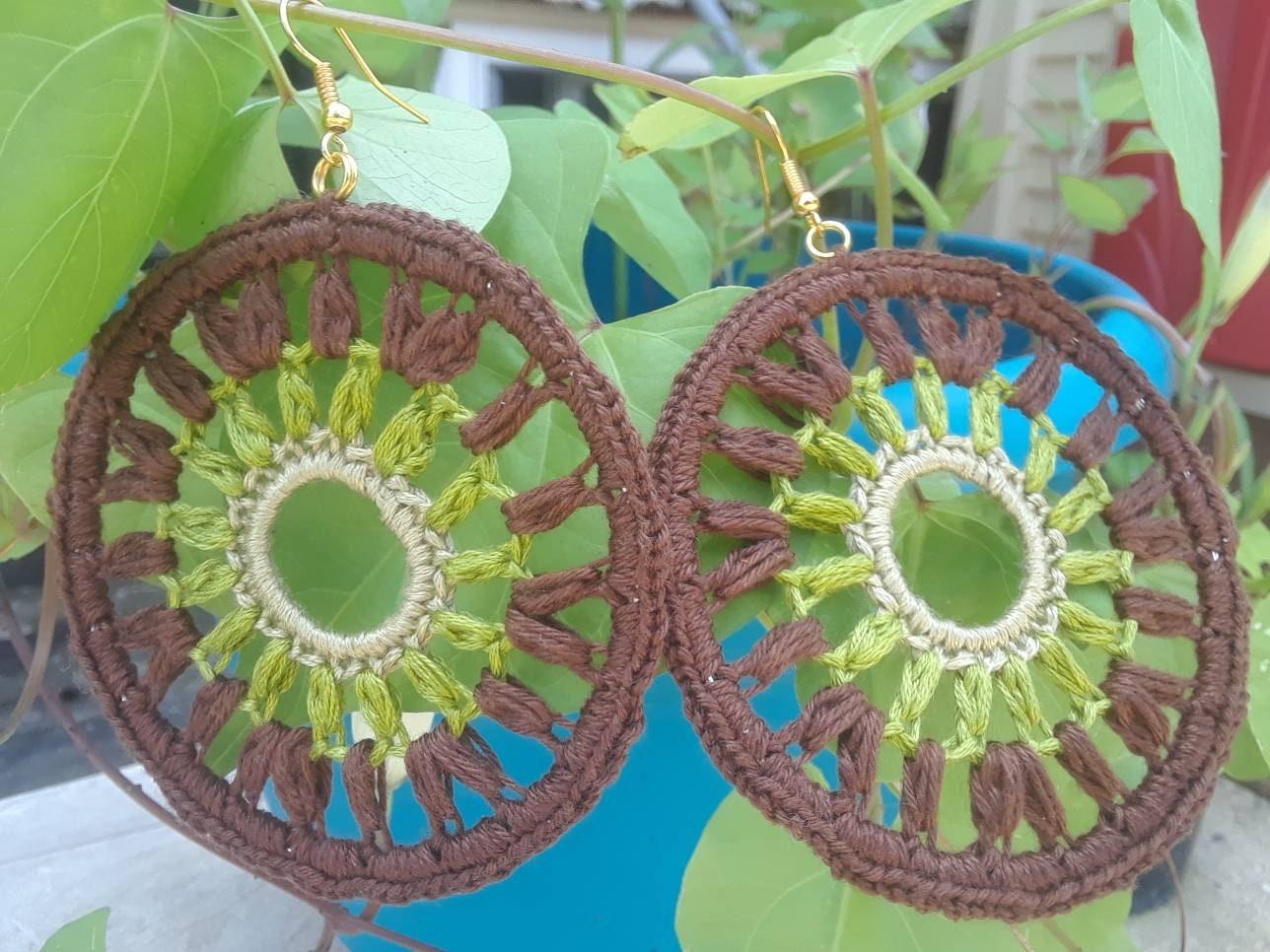Crochet Earrings Large Diana Crochet Earrings Brown Green Tan