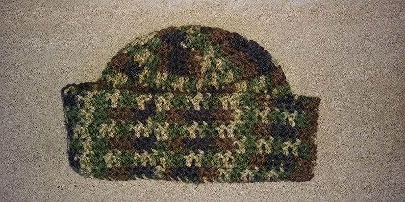 Camouflage Hat Fatigue Hat Crochet Beanue Hat Unisex Winter Hat Crochet Skull Cap