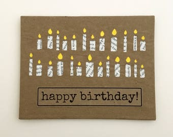 25th Birthday Card Handmade Personalized Birthday Card Handmade Greeting Cards Card For Him repurposed upcycled paper 25 Birthday Candles
