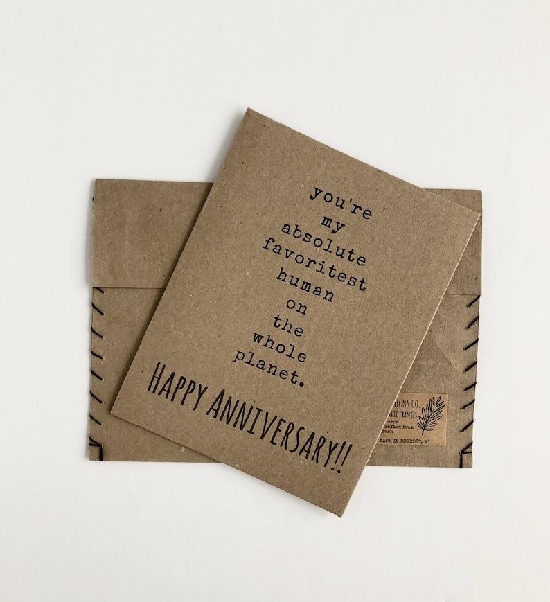 Funny Boyfriend Card Happy Anniversary Card Handmade Card For Him Card For Girlfriend Card For Husband repurposed paper You/'re My Favorite