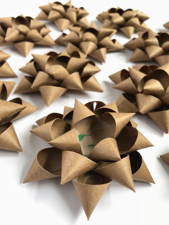 Gift Bows Christmas Package Bows Self-Adhesive Gift Bows Holiday Gift Wrap  Wedding Gift Bow Handmade Bows repurposed recycled paper