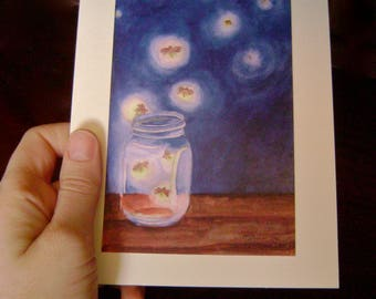 Fireflies in Mason Jar card in watercolor -- sold in sets of 5 -- envelopes included
