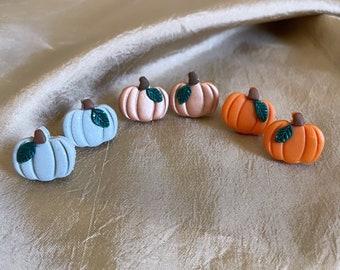 Pumpkin Clay Earring, Pumpkin Stud Earrings, Halloween Themed stud Earrings, Handmade Earrings, Stud Clay Earring