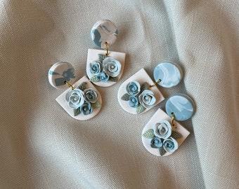 Dusty Blue Polymer Clay Earring, Modern Floral earring, Statement Earrings, Dangle Earrings, Handmade Earrings, Bridal Earring