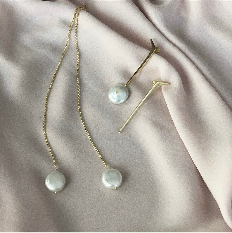 Pearl Threader Earrings Fresh Water Coin Pearl Gold Chain image 0