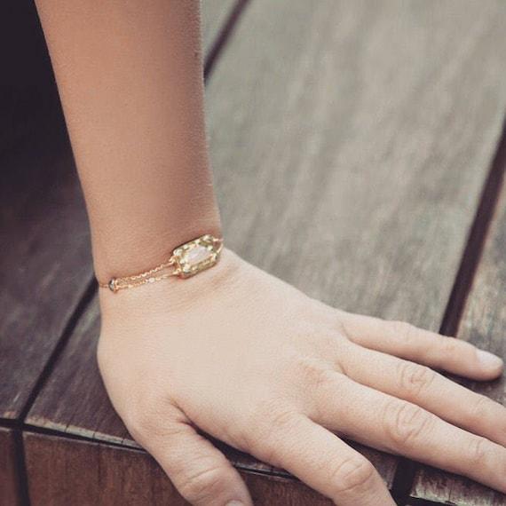 Geometric Gold Bracelet, Gemstone Bracelet, Bolo b