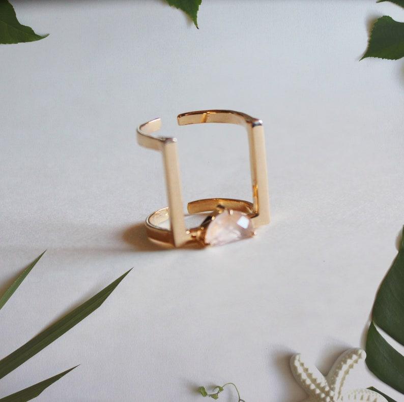 Rose Gold Ring Minimalist ring Geometric ring Rose Quartz image 0