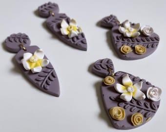 Polymer Clay earrings, Five petal flower, Plumeria Earring, Statement earring, Handmade Earrings