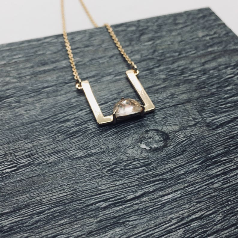 Rose Quartz Necklace Open Square necklace January Birthstone image 0
