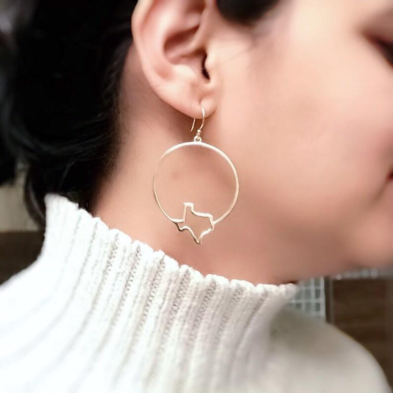 Texas Earrings Texas State Hoop Earrings Texas Jewelry image 0