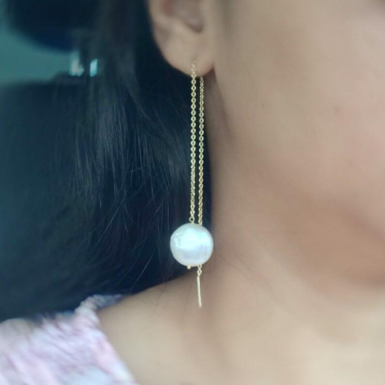 Pearl Dangle Threader earring Bridal Earring Perfect Gift image 0