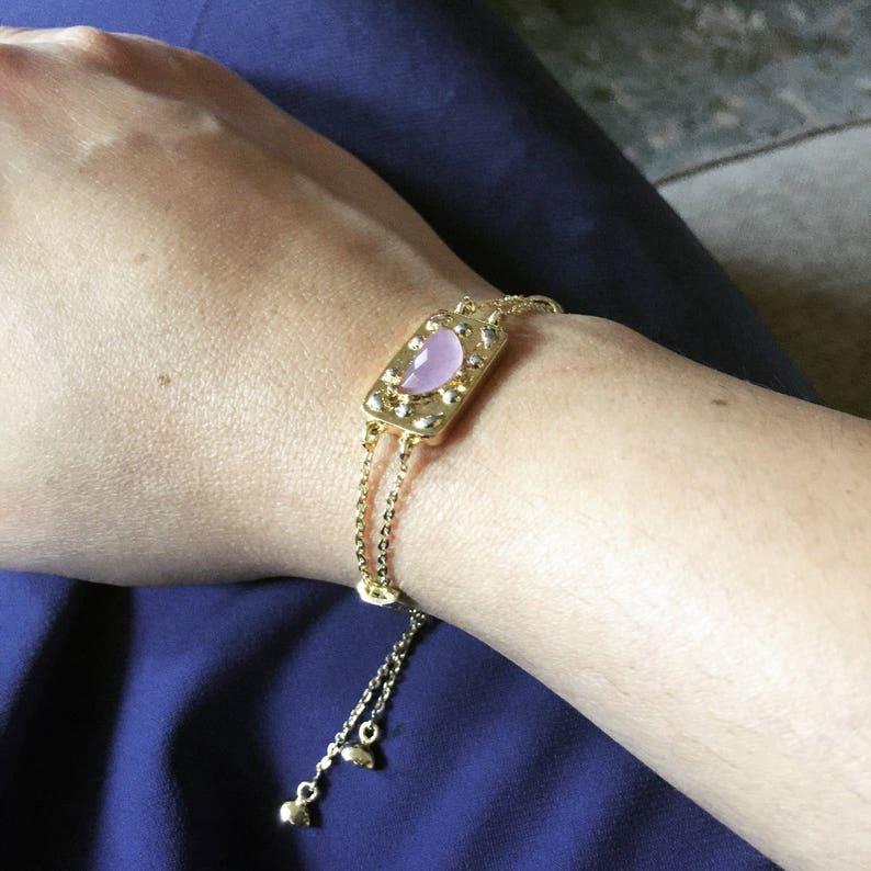 Purple Jade Bolo bracelet Bolo bracelet Adjustable Chain image 0