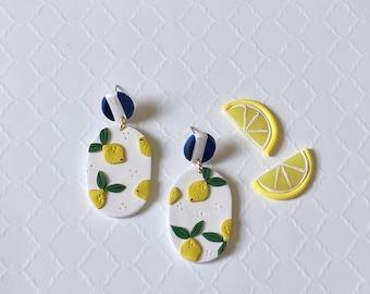 Lemon Clay Earrings, Lemon Polymer Clay Earring, Statement Earrings, Citrus Clay Dangles
