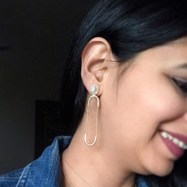 Fresh Water Pearl Earrings Long Pearl Earrings Gold Arc image 0