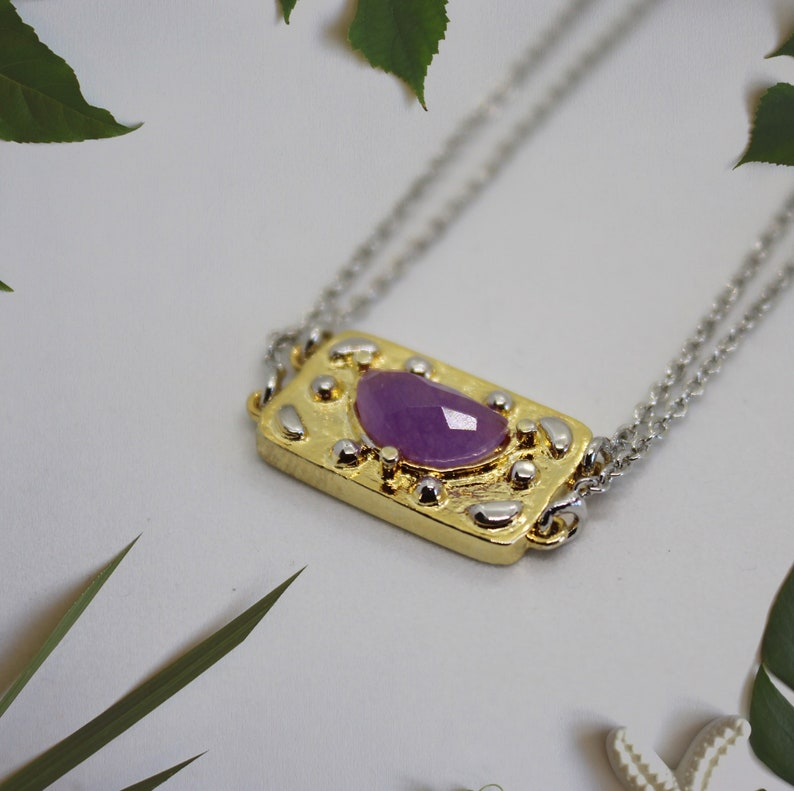 Purple Jade necklace Rectangle necklace Double Chain image 0