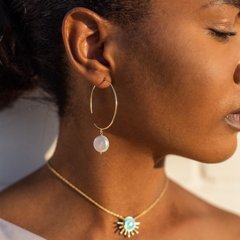 Pearl Hoop Earrings  11/2 Pearl Gold Hoops Fresh Water image 0