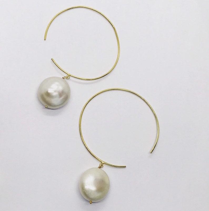 Wire Open Hoop Earrings with Pearl Wire Threader Earrings image 0