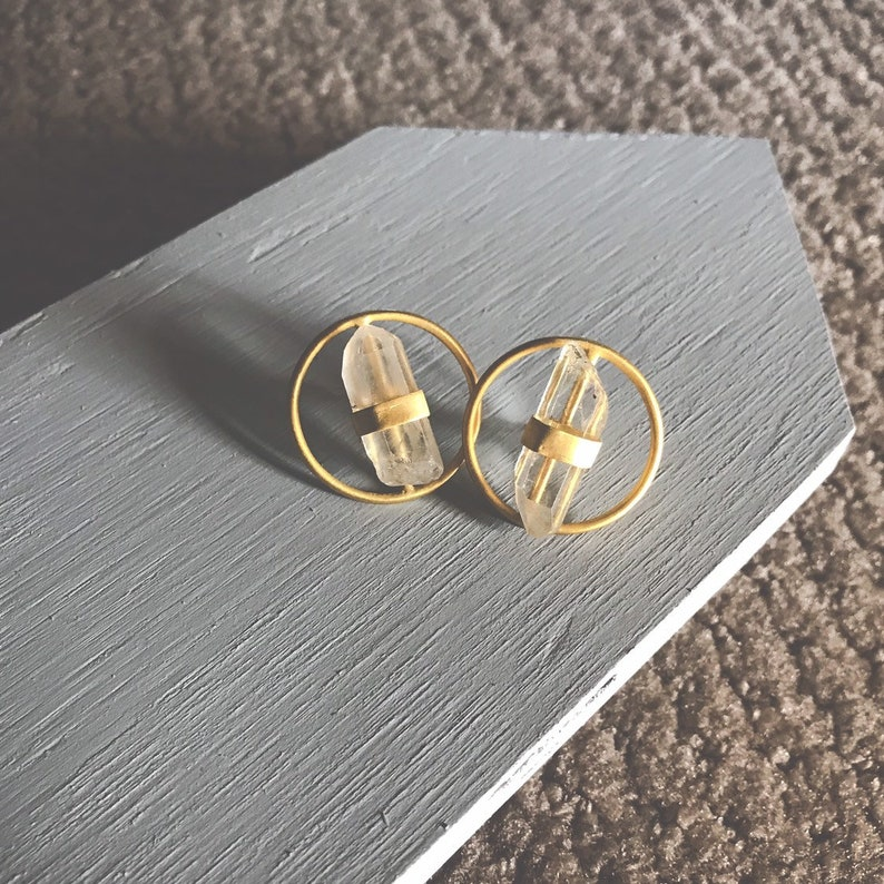 Bridal Earrings Circle Gold Earrings Crystal Quartz image 0