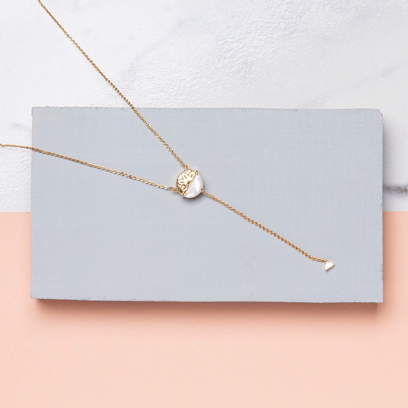 Lariat necklace Dainty Gold Lariat Necklace Mother of Pearl image 0
