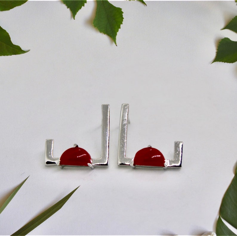 Open Square earring Studs Square Gold earring Minimalistic image 0
