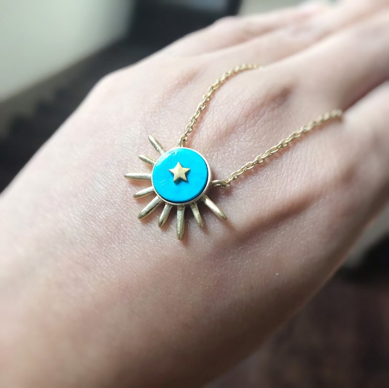 Turquoise Necklace Gold Sunburst Necklace Turquoise Coin image 0