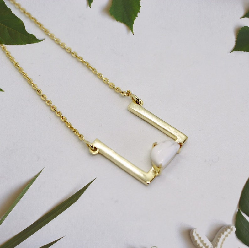 Gold Square Necklace Dainty Gold Necklace Delicate Layering image 0