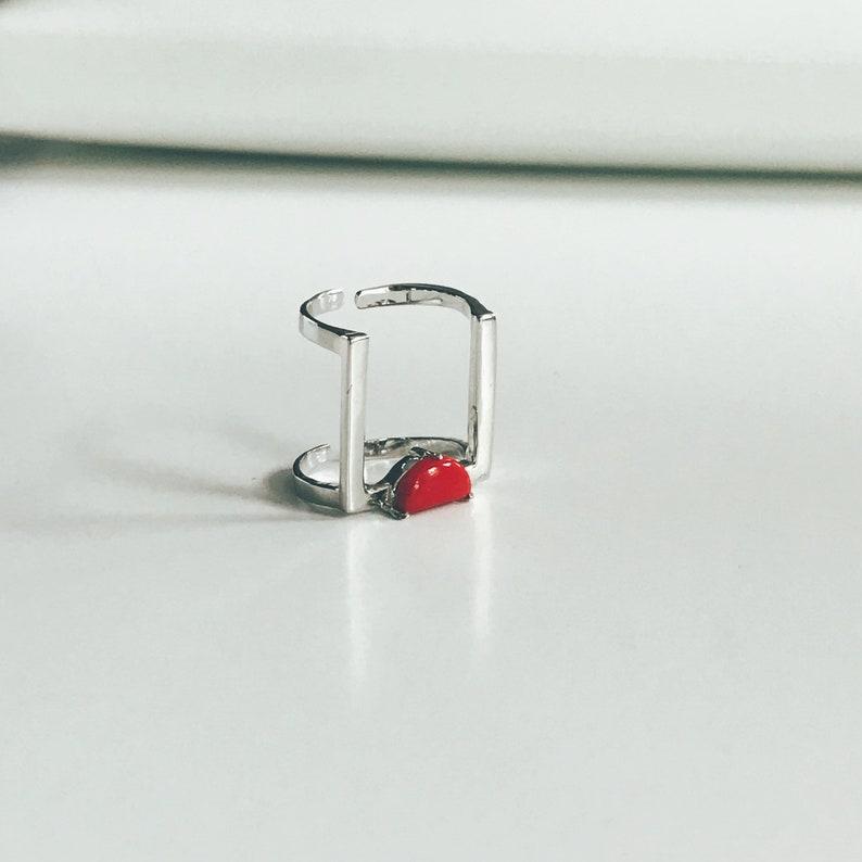 Geometric ring Square ring Minimalist ring Adjustable ring image 0