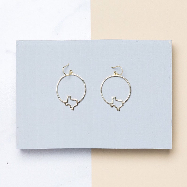 Texas Earrings Texas State Hoop Earrings Texas Jewelry image 0