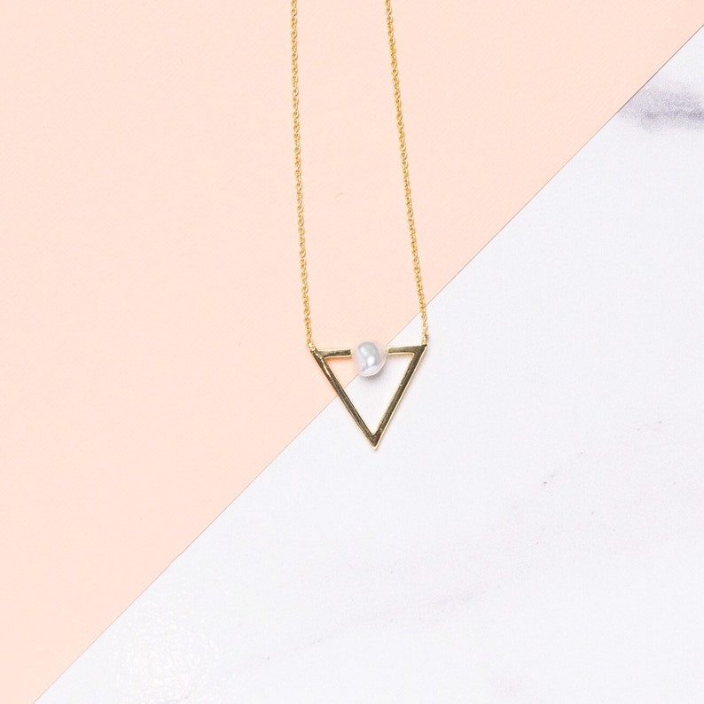 Gold Triangle Necklace Geometric Triangle Necklace Pearl image 0