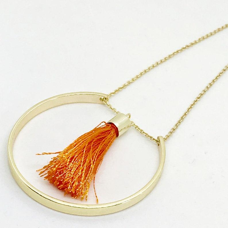 Circle Tassel Necklace Floating Tassel Necklace Long Circle image 0
