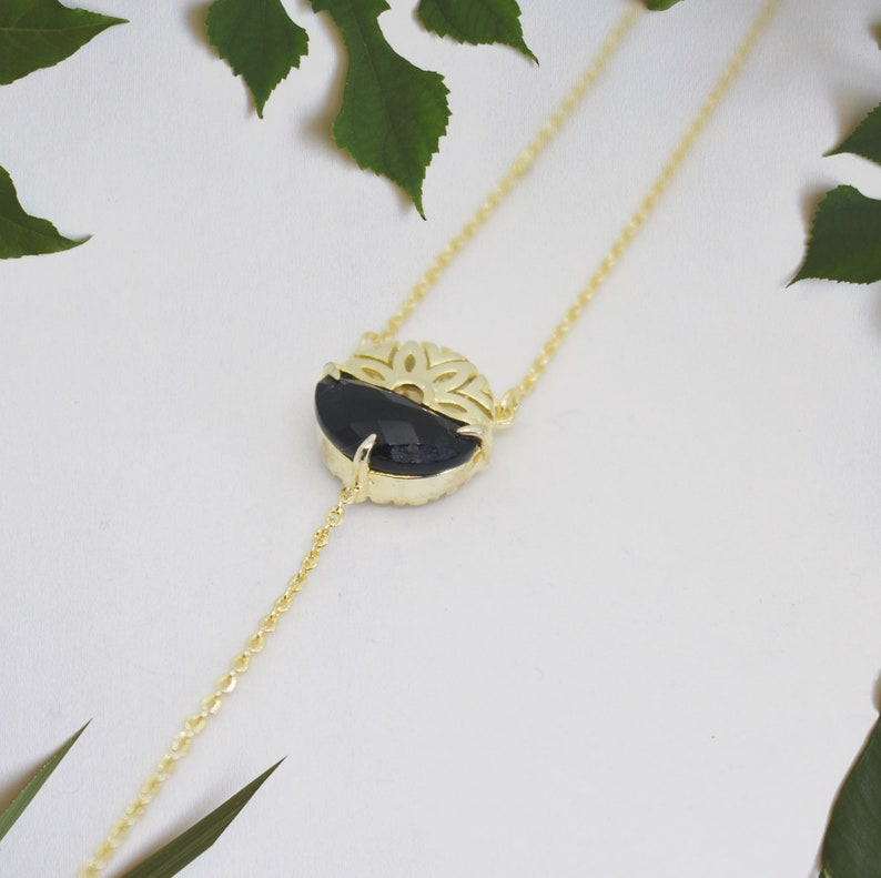 Lariat necklace Gold Y Necklace Minimal necklace Lariat image 0