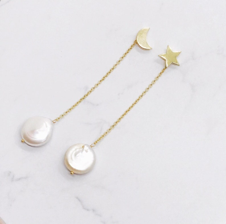Star and Crescent moon Earrings Multi way earring with Pearl image 0