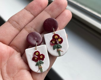 Floral Polymer Clay Earrings, Statement Earrings, Flower bouquet Earrings, Clay Earring, Cute Earrings