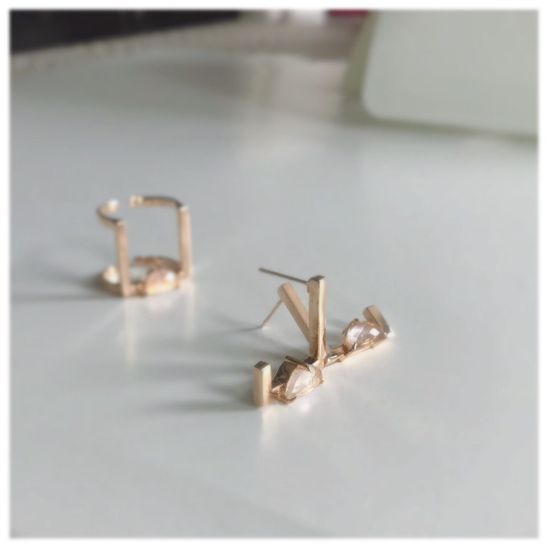 Square earrings Open Square studs Rose gold earrings image 0