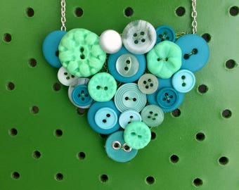 Turquoise Button Necklace, Retro, Vintage Button Necklace , Mint Green, Silver, Colourful, Statement Necklace
