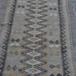 Turkish Kilim Runner Size 302 x 80 Cm Caucasian Kilim Runner  Wholesale Price Stunning Afghan Rug Kilim Runner Black And White,