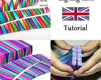 Polymer clay tutorial: Fimo Zig Zag cane, Zig Zag cane tutorial, Polymer technique tutorial, Fimo tutorial, Cane tutorial