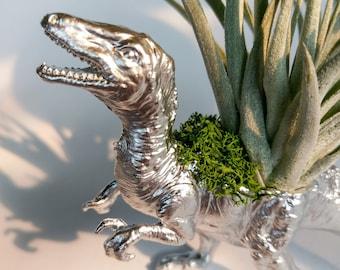 Silver Velociraptor Dinosaur Planter || Home Decor || Desk Accessory || Gift Idea || Upcycled Planter