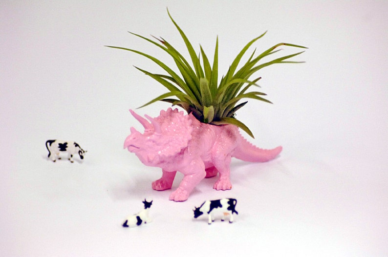 Housewarming Gift Pastel Pink Triceratops Dinosaur Planter Upcycled Planter Home Decor