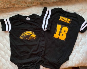 b476f2761cd University of Southern Mississippi baby jersey onesie * USM Golden Eagles *  Personalized with name and number * Sports jersey * Baby gift