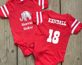 11af5b9e6 Bama Baby jersey onesie - personalized with baby's name! Alabama Crimson  Tide * Roll Tide baby * BOY or GIRL * Personalized baby gift