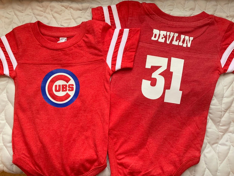 timeless design e03d5 7d297 Chicago Cubs baby jersey onesie - boy or girl - great Personalized gift for  any Baseball Baby!