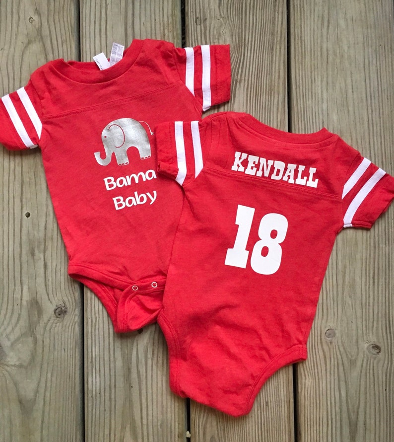 2e2db9ff1f6 Bama Baby jersey onesie personalized with baby's name | Etsy
