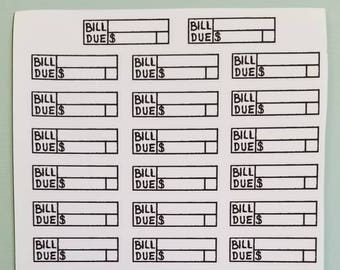 Bill Due Sticker, Bullet Journal Sticker, Bujo Sticker, Planner Sticker, Journal Sticker, Hand Drawn Sticker, Planner Accessories, Reminder