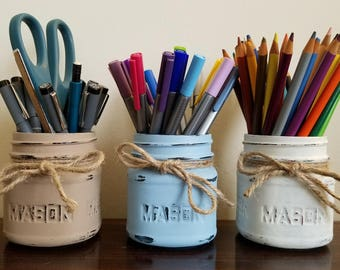 Pen Holder, Pencil Holder, Painted Mason Jars, Bullet Journal Accessories, Desk Accessories, Desk Organizer, Brush Holder, Desk Organization