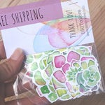 10 Succulent Stickers - Free Shipping Stickers - Vinyl Stickers - Decal Stickers - Watercolor Succulent - Sticker Pack - Cacti Stickers